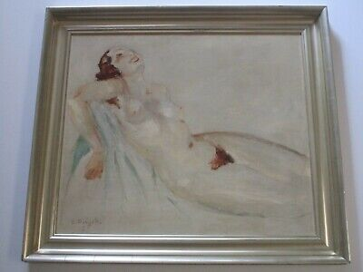 Antique Art Deco Impressionist Nude Painting 1930'S Woman Female Model Pretty