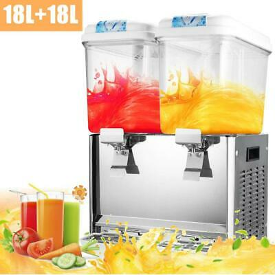 18L x 2 Tank Juice Beverage Dispenser Machine Cold Frozen Ice Drink Commercial