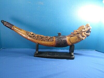 Ornate Carved Resin Dragon  Pipe With Cradle