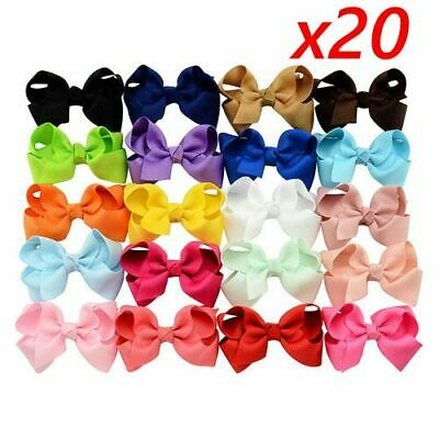3 Inch Big Bow Boutique Hair Clip Pin Alligator Clips Grosgrain Ribbon Girl Set