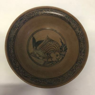 ANTIQUE 17thc  THAI  SUKHOTHAI  CHARGER FISH DESIGNED CHARGER BOWL PLATE