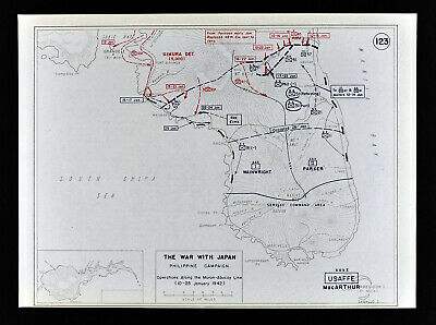 West Point WWII Map War Japan Battle of Philippines Bataan Morong Abucay Line