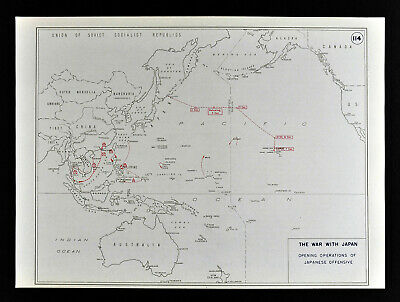 West Point WWII Map War with Japan Japanese Offensive Pearl Harbor Philippines