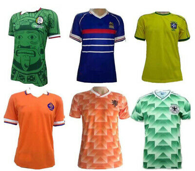 World Cup Vintage Classic Home Retro Football Soccer Shirt Adults Jersey UK