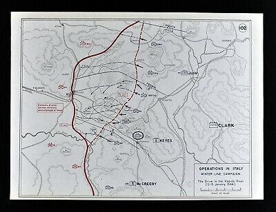 West Point WWII Map Italy Winter Line Campaign Rapido River Battle Monte Cassino