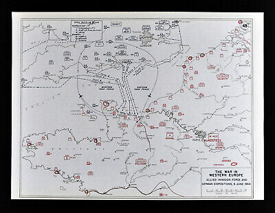 West Point WWII Map Allied Forces D-Day Invasion Omaha Beach Normandy France