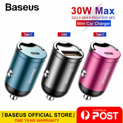 Baseus Ultra Mini Car Charger 30W Fast Charging USB Type-C Adapter for Cellphone
