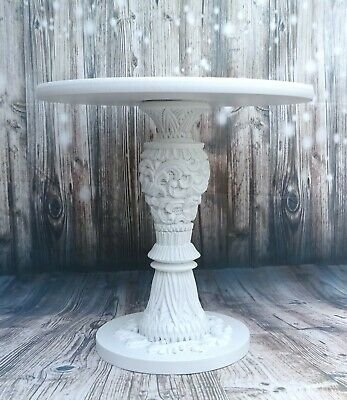 14 inch TALL STUNNING CARVED WHITE HAND MADE WOODEN PEDESTAL WEDDING CAKE STAND