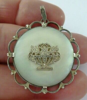 Antique Victorian 800 Silver Mother of Pearl Pendant Flower Urn Vase Round KB CB