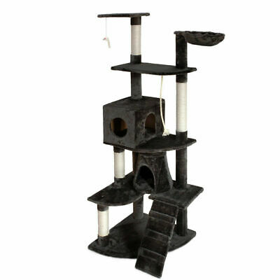 Cat Scratching Post Tree Gym House Scratcher Pole Furniture Toy Giant 193cm Grey