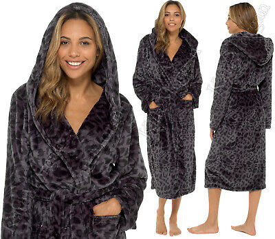 `LADIES SOFT & COSY HOODED SHIMMER FLEECE DRESSING GOWN ROBE Sizes 8 - 22