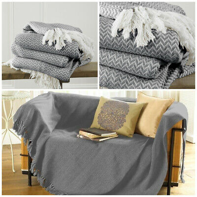 Safi Charcoal 170 x 200cm Cotton Traditional Blanket Chair / Sofa / Bed Throw