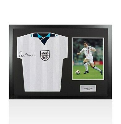 Framed Robbie Fowler Signed England Shirt Euro 1996 Front Signed - Panoramic