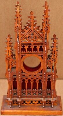 Fab Wooden Fancy Carved Mantle Clock Case Shaped As A Gothic Cathedral