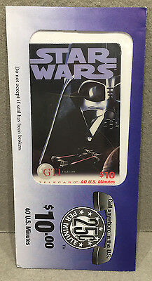 VINTAGE RARE COLLECTIBLE STAR WARS DARTH VADER PHONE CARD 1990s SEALED UNUSED