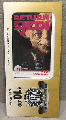 VINTAGE RARE COLLECTIBLE STAR WARS YODA PHONE CARD 1990s SEALED UNUSED EXPIRED