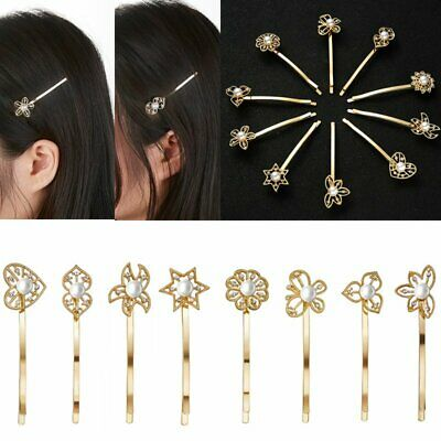Girls Pearl Crystal Flower Hairpins Hair Barrette Hair Clip Headwear Sweet Gifts