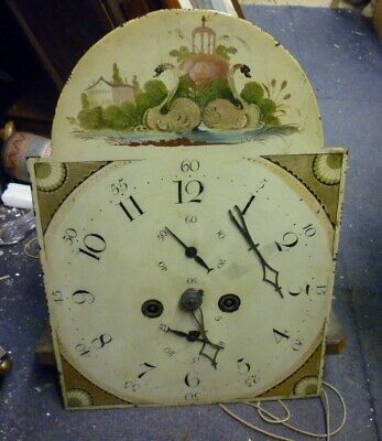 Good Antique 8 Day Longcase Clock Movement With 17ins By 12ins Dial