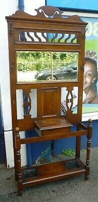 Very Impressive Antique Victorian Oak Hallstand For Hats Coats Umbrella Etc