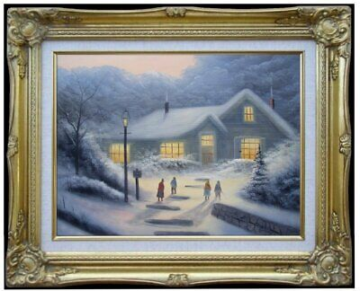 Framed Quality Hand Painted Oil Painting, Snowing Landscape - 1, 12x16in