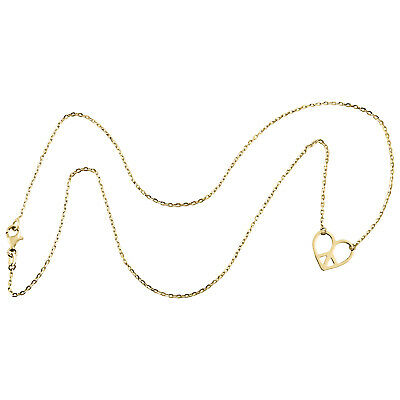 14K Yellow Gold Polished Fancy Sideways Heart Pendant with Figaro Necklace