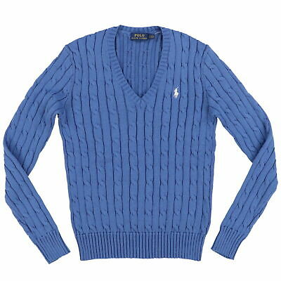 b335d588 NEW RALPH LAUREN Women's Cable-Knit Sweater Ribbed V-Neck L/s Grey ...