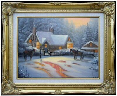 Framed Quality Hand Painted Oil Painting, Snowing landscape - 11, 12x16in