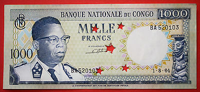 Democratic Republic of the Congo 1000 Francs 1964 Uncirculated Note - Cancelled