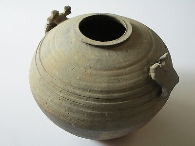 Antique Chinese Pot Sculpture Vase Urn Handled Two Eared Large Han Dynasty Style