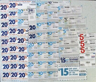 Lot of 60 Bed Bath and Beyond Coupons 34-20% Off, 20-$10 Off, 3-$15 Off, 3-$5Off