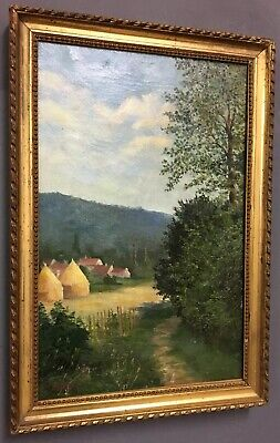 Antique French Oil On Canvas Painting In Gold Gilt Frame, Signed