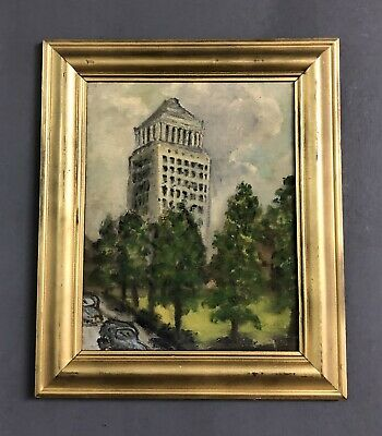 Vintage Mid Century Modernist Cityscape Oil On Canvas Painting
