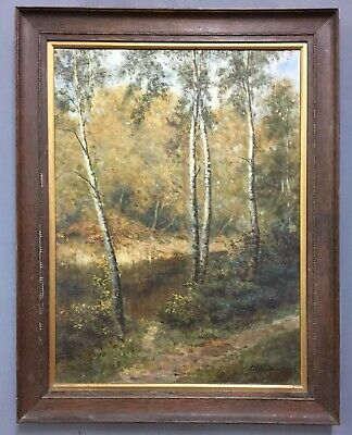 Large Antique Victorian Oil On Canvas Painting Attr Alfred Parsons
