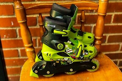 Ryde Inline Hockey Rollerblades Roller Skates Green Black Youth Size (31/32/33)