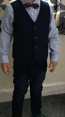Worn For 1 Hour Next Jeans Shirt & Waistcoat Bow Tie