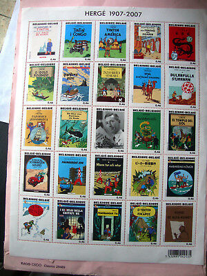 Planche 25 Timbres Tintin 1907 2007 / HERGE /  BELGIQUE