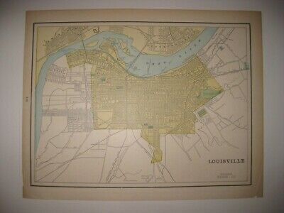 Antique 1890 Louisville Kentucky Indianapolis Indiana Map Horse Steam Railroad