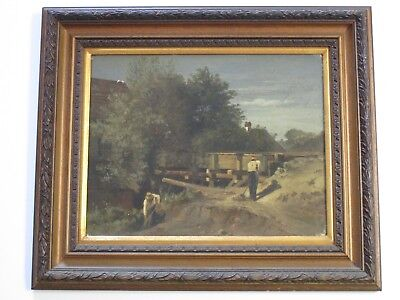 Antique Landscape Painting Old Farm Workers And Flume Water System 19Th Century
