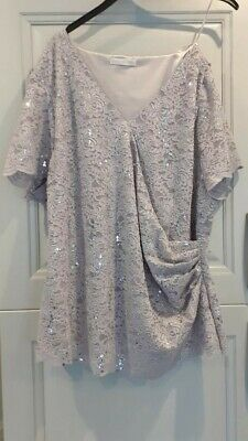 Jacques Vert Blouse Top Silver Grey Sparkle Mother Of Bride UK Size 24 Worn Once