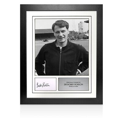 Framed Sir Bobby Robson Signed Autograph Card - Ipswich Autograph