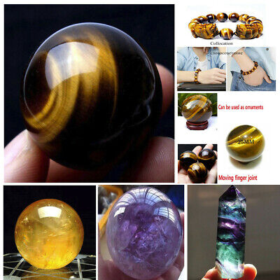 1pcs 40mm Natural Citrine Quartz Crystal Sphere Ball Healing Gemstone US