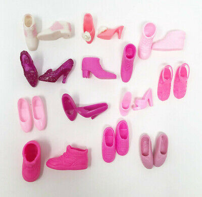 Barbie Doll Shoes 12 Pink Pairs Heels Boots Flats Tennis Shoes Mixed Lot 5