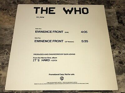 """The Who Rare Eminence Front Promo 12"""" Vinyl Record Pete Townshend FREE SHIPPING"""