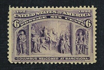 CKStamps: US Stamps Collection Scott#235 6c Columbian Mint NH OG Lightly Crease