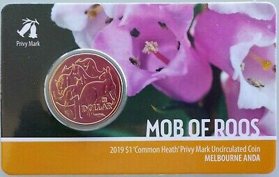 2019 Mob of Roos 'Common Heath' Privy Mark, MELBOURNE ANDA SHOW SPECIAL, $1 Coin