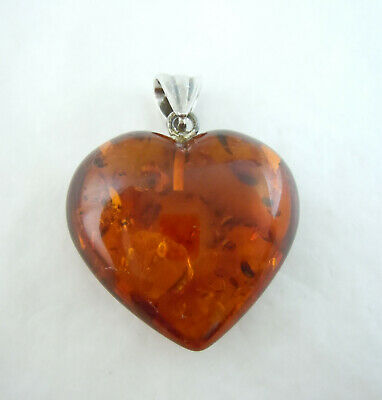 Vintage Sterling Silver Bail on Amber Heart Pendant