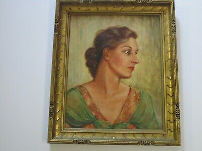 Antique Rose Hiemke  Painting Portrait Art Deco Frame Pretty Female Woman Model