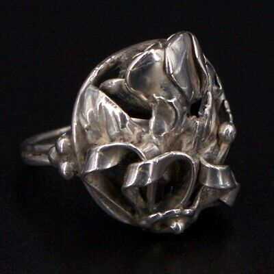 VTG Sterling Silver - ART NOUVEAU Flower Ribbon Statement Ring Size 5.5 - 9g