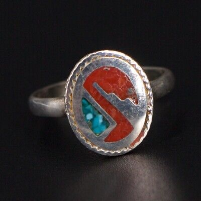 VTG Sterling Silver - NAVAJO Signed Turquoise Coral Inlay Ring Size 4.75 - 2g