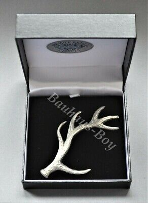 Pewtermill KILT PIN PEWTER STAG ANTLER MADE IN SCOTLAND HIGHLAND MENS GIFT BOXED